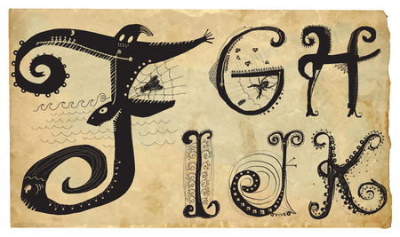 frizzy: An hand drawn vector illustration, pack of letters - Curly playful Alphabet. Part: F to K