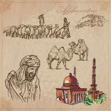 world agricultural: Traveling series: AFGHANISTAN (set no.3)  - Collection of an hand drawn vector illustrations. Each drawing comprise three layers of lines, the colored background is isolated. Editable in layers and groups.