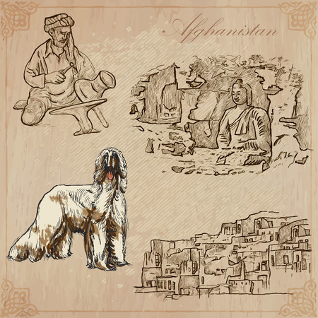 afghan hound: Traveling series: AFGHANISTAN (set no.2)  - Collection of an hand drawn vector illustrations. Each drawing comprise three layers of lines, the colored background is isolated. Editable in layers and groups.