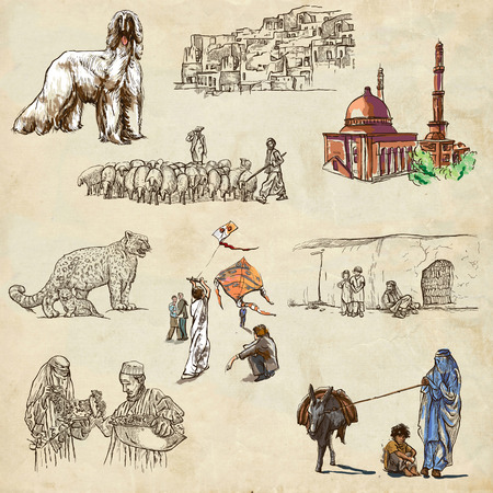 afghan hound: Traveling series: AFGHANISTAN - Collection (no.3) of an hand drawn illustrations. Description: Full sized hand drawn illustrations drawing on old paper.