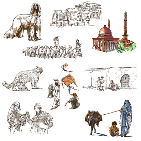 afghan hound: Traveling series: AFGHANISTAN - Collection (no.3) of an hand drawn illustrations. Description: Full sized hand drawn illustrations drawing on white (isolated).