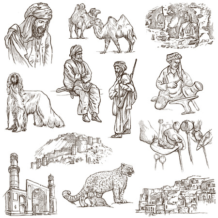 afghan hound: Traveling series: AFGHANISTAN - Collection (no.1) of an hand drawn illustrations. Description: Full sized hand drawn illustrations drawing on white (isolated).