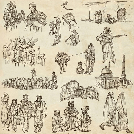 Traveling series: AFGHANISTAN - Collection (no.2) of an hand drawn illustrations. Description: Full sized hand drawn illustrations drawing on old paper. illustration
