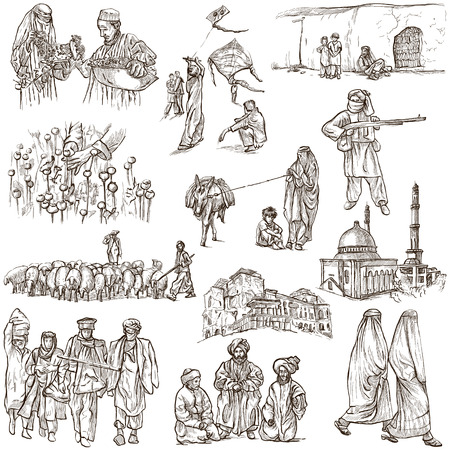 Traveling series: AFGHANISTAN - Collection (no.2) of an hand drawn illustrations. Description: Full sized hand drawn illustrations drawing on white (isolated). illustration