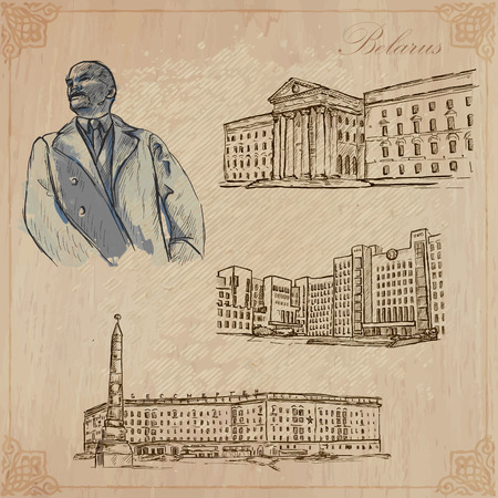 lenin: Traveling series: BELARUS (set no.1)  - Collection of an hand drawn vector illustrations. Each drawing comprise three layers of lines, the colored background is isolated. Editable in layers and groups.