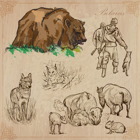 hunters: Traveling series: BELARUS (set no.5)  - Collection of an hand drawn vector illustrations. Each drawing comprise three layers of lines, the colored background is isolated. Editable in layers and groups. Illustration