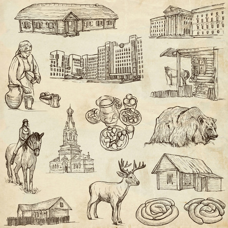 no1: Traveling series: BELARUS - Collection (no.1) of an hand drawn illustrations. Description: Full sized hand drawn illustrations drawing on old paper. Stock Photo