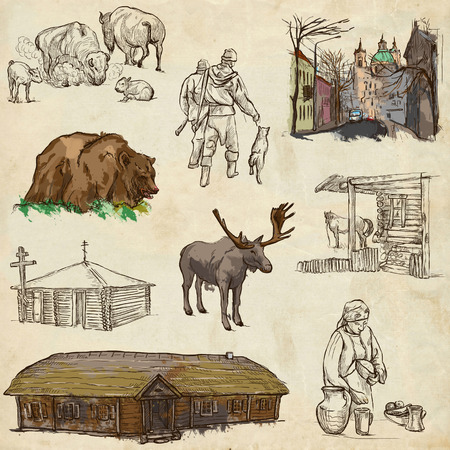 hunter's cabin: Traveling series: BELARUS - Collection (no.3) of an hand drawn illustrations. Description: Full sized hand drawn illustrations drawing on old paper.