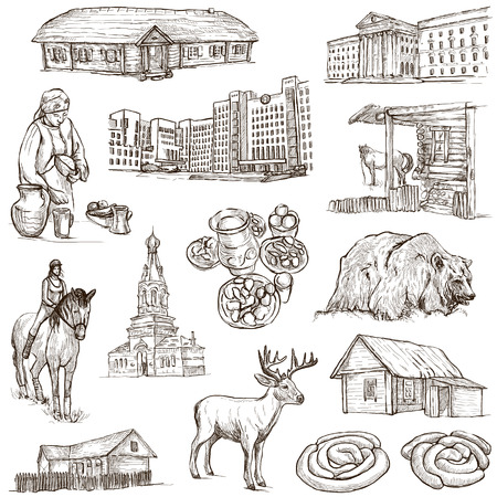 no1: Traveling series: BELARUS - Collection (no.1) of an hand drawn illustrations. Description: Full sized hand drawn illustrations drawing on white background.