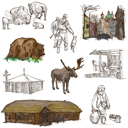 hunter's cabin: Traveling series: BELARUS - Collection (no.3) of an hand drawn illustrations. Description: Full sized hand drawn illustrations drawing on white background.