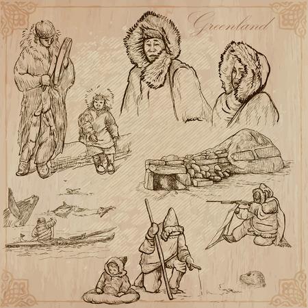 esquimales: - GROENLANDIA (serie no.7) - Colección de una dibujados a mano ilustraciones vectoriales regiones polares: Serie de Viajar. Cada dibujo comprenden tres capas de líneas, el color de fondo es aislado. Editables en capas y grupos.