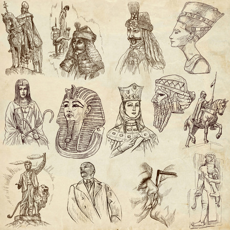 feudalism: Rulers - Collection of an hand drawn illustrations. Description: Full sized hand drawn illustrations drawing on old paper. Stock Photo