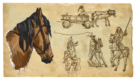 draft horse: History and use of HORSES. Collection of an hand drawn illustrations (originals, no tracing). Drawings are editable in layers and groups. The color layers are separated. Illustration