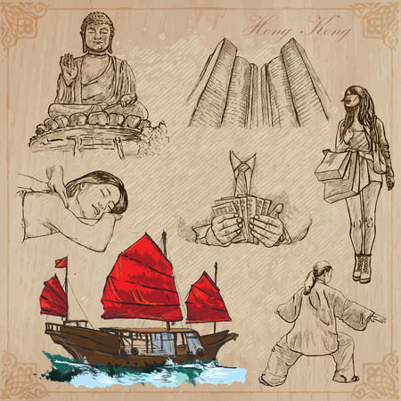 Travel: HONG KONG (set no.1) - Collection of an hand drawn vector illustrations. Each drawing comprise three layers of lines, the colored background is isolated. Editable in layers and groups. Stock Vector - 34300688