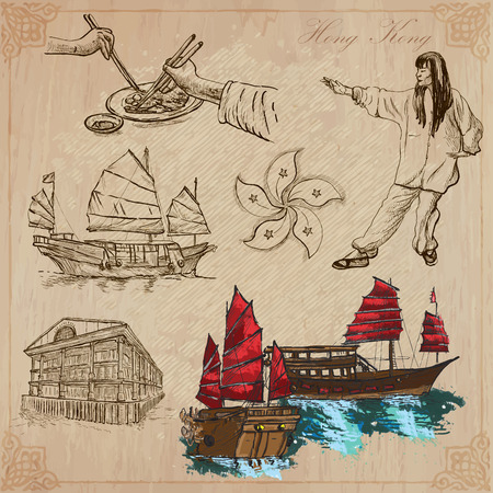 Travel: HONG KONG (set no.2) - Collection of an hand drawn vector illustrations. Each drawing comprise three layers of lines, the colored background is isolated. Editable in layers and groups. Vector