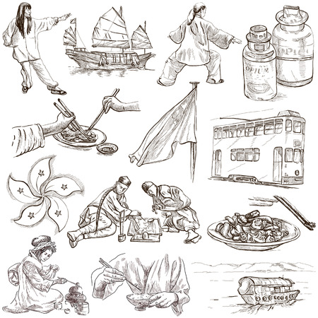 Travel series: HONG KONG - Collection (no.2) of an hand drawn illustrations. Description: Full sized hand drawn illustrations drawing on white background.