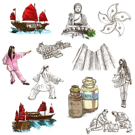 Travel series: HONG KONG - Collection (no.3) of an hand drawn illustrations. Description: Full sized hand drawn illustrations drawing on white background.