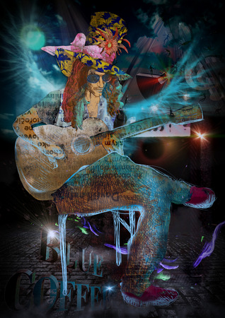 mixed media: An hand drawn illustration and mixed media picture. Jazz and Blues Music. Musician: Guitar Player