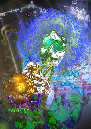 trumpet player: An hand drawn illustration and mixed media picture. Jazz and Blues Music. Musician: Trumpet Player Stock Photo