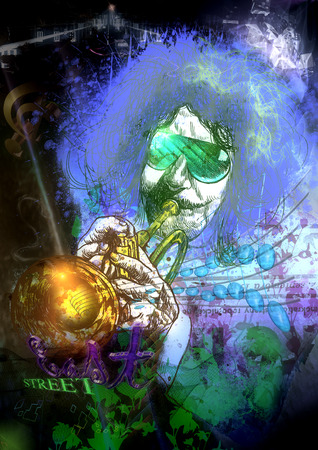 eccentric: An hand drawn illustration and mixed media picture. Jazz and Blues Music. Musician: Trumpet Player Stock Photo