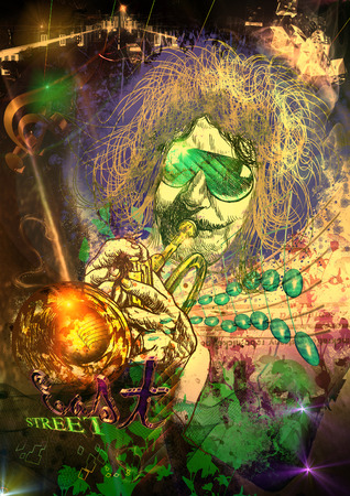An hand drawn illustration and mixed media picture. Jazz and Blues Music. Musician: Trumpet Player Stock Photo