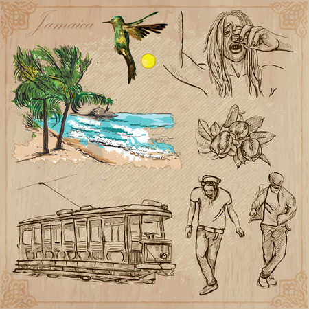Travel: JAMAICA (set no.12) - Collection of an hand drawn vector illustrations. Each drawing comprise three layers of lines, the colored background is isolated. Easy editable in layers and groups. Vector