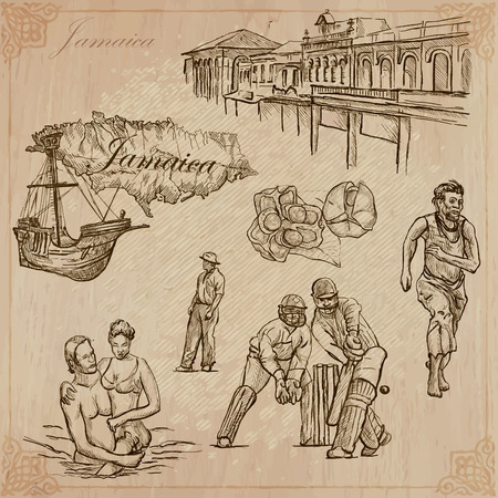 Travel: JAMAICA (set no.5) - Collection of an hand drawn vector illustrations. Each drawing comprise three layers of lines, the colored background is isolated. Easy editable in layers and groups. Illustration