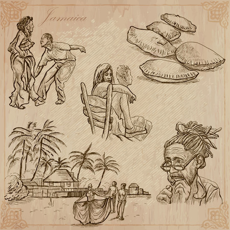 jamaican food: Travel: JAMAICA (set no.7) - Collection of an hand drawn vector illustrations. Each drawing comprise three layers of lines, the colored background is isolated. Easy editable in layers and groups.