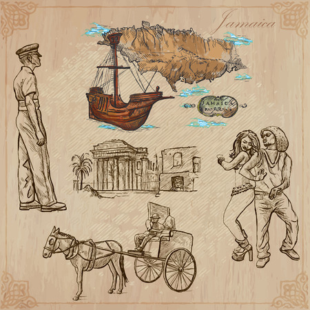 Travel: JAMAICA (set no.11) - Collection of an hand drawn vector illustrations. Each drawing comprise three layers of lines, the colored background is isolated. Easy editable in layers and groups. Vector