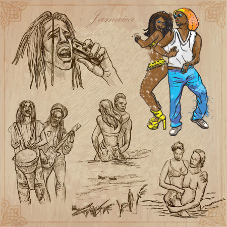 Travel: JAMAICA (set no.13) - Collection of an hand drawn vector illustrations. Each drawing comprise three layers of lines, the colored background is isolated. Easy editable in layers and groups. Vector