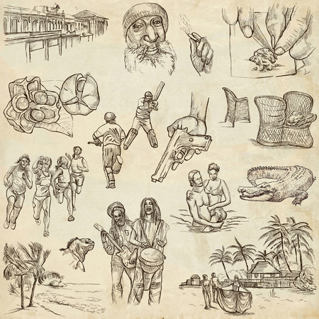 kingston: Travel series: JAMAICA - Collection (no.1) of an hand drawn illustrations. Description: Full sized hand drawn illustrations drawing on old paper.