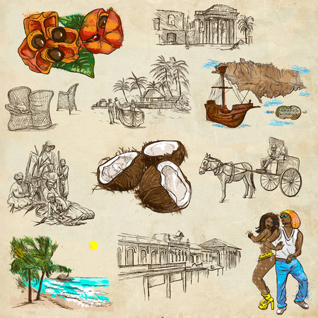 Travel series: JAMAICA - Collection (no.5) of an hand drawn illustrations. Description: Full sized hand drawn illustrations drawing on old paper. Stock Photo