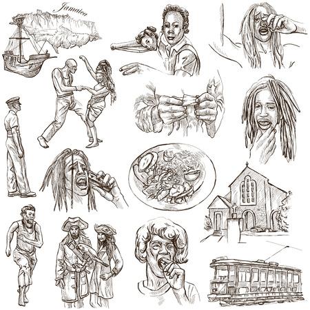 officier de police: S�rie Voyage: JAMAICA - Collection (n � 3) d'un illustrations dessin�es � la main. Description: tir� par la main illustrations pleine taille de dessin sur fond blanc.