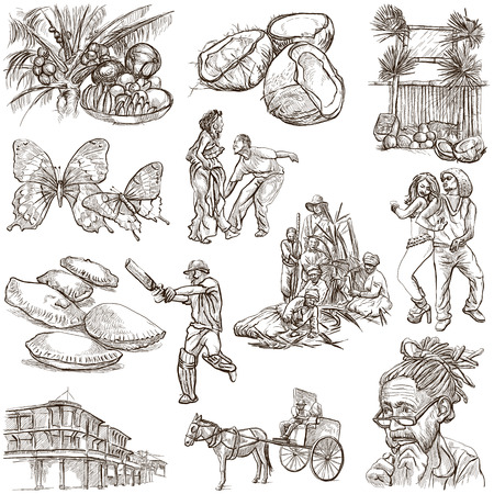 Travel series: JAMAICA - Collection (no.4) of an hand drawn illustrations. Description: Full sized hand drawn illustrations drawing on white background. illustration