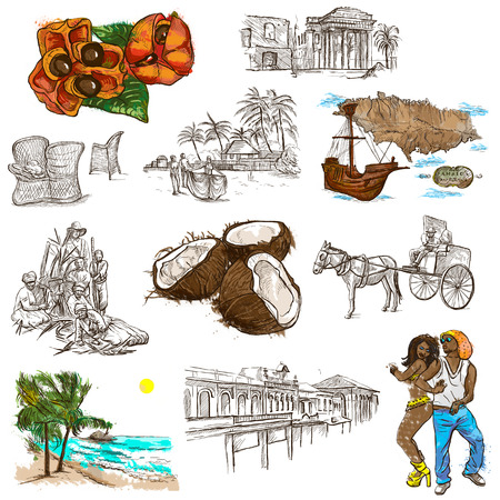 kingston: Travel series: JAMAICA - Collection (no.5) of an hand drawn illustrations. Description: Full sized hand drawn illustrations drawing on white background.