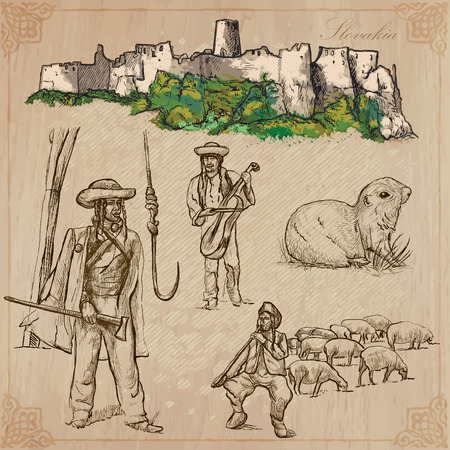 herder: Travel: SLOVAKIA (set no.1) - Collection of an hand drawn vector illustrations. Each drawing comprise three layers of lines, the colored background is isolated. Easy editable in layers and groups.