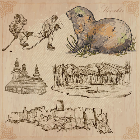 tatras: Travel: SLOVAKIA (set no.2) - Collection of an hand drawn vector illustrations. Each drawing comprise three layers of lines, the colored background is isolated. Easy editable in layers and groups.