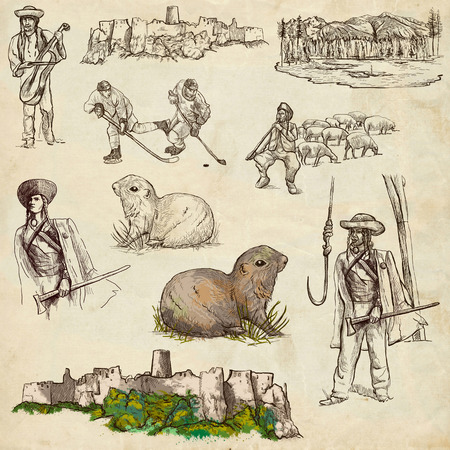 herder: Travel series: SLOVAKIA - Collection of an hand drawn illustrations. Description: Full sized hand drawn illustrations drawing on old paper. Stock Photo