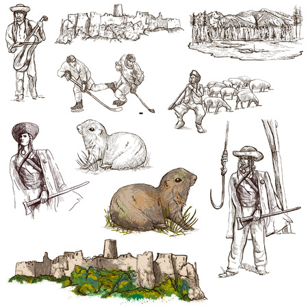 herder: Travel series: SLOVAKIA - Collection of an hand drawn illustrations. Description: Full sized hand drawn illustrations drawing on white background. Stock Photo