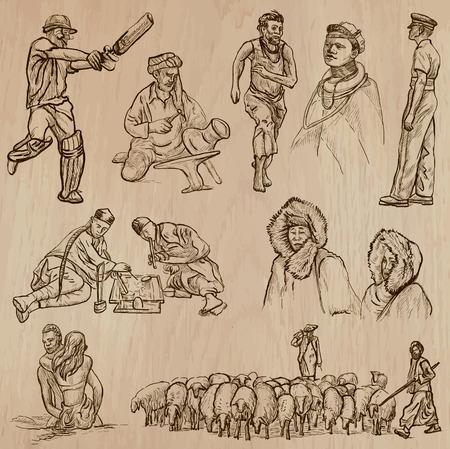 esquimales: Nativos - United Colors of Human Race (conjunto no.34) - Colecci�n de una dibujados a mano ilustraciones de vectores. Cada dibujo comprenden tres capas de l�neas, el color de fondo es aislado. F�cil editable por capas y grupos.