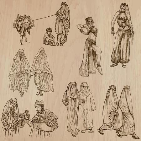 mujeres musulmanas: Las mujeres musulmanas - United Colors of Human Race. Colecci�n de una dibujados a mano ilustraciones de vectores. Cada dibujo comprenden tres capas de l�neas, el color de fondo es aislado. F�cil editable por capas y grupos.