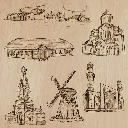 polar station: Famous places and ARCHITECTURE around the World (set no.26) - Hand drawn vector illustrations. Each drawing comprise three layers of lines, the colored background is isolated. Easy editable in layers and groups.