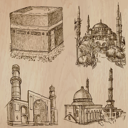 muhammad: Famosos lugares y arquitectura de todo el mundo (juego no.29) - Dibujado a mano ilustraciones de vectores. Cada dibujo comprenden tres capas de l�neas, el color de fondo es aislado. F�cil editable por capas y grupos. Vectores