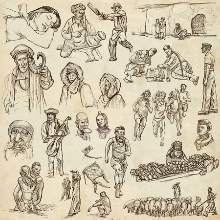 eskimos: United Colors of Human Race - NATIVES - Collection (no.16) of an hand drawn illustrations. Description: Full sized hand drawn illustrations drawing on old paper.