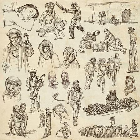 esquimales: United Colors of Human Race - NATIVOS - Collection (no.16) de una dibujados a mano ilustraciones. Descripción: ilustraciones dibujadas a mano de tamaño completo de dibujo en el papel viejo.
