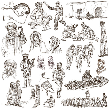 eskimos: United Colors of Human Race - NATIVES - Collection (no.16) of an hand drawn illustrations. Description: Full sized hand drawn illustrations drawing on white background.