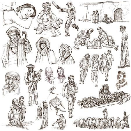 esquimales: United Colors of Human Race - NATIVOS - Collection (no.16) de una dibujados a mano ilustraciones. Descripción: ilustraciones dibujadas a mano de tamaño completo de dibujo sobre fondo blanco.