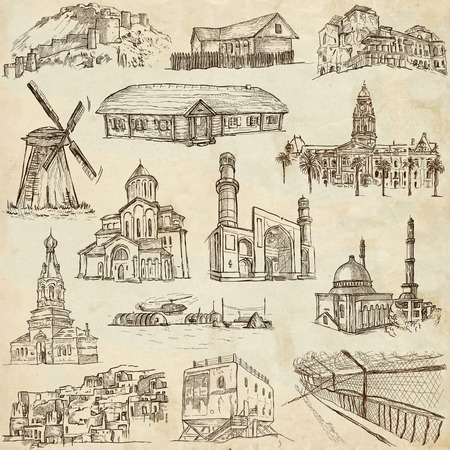polar station: Famous places and Architecture around the World - Collection (no.13) of an full sized hand drawn illustrations. Hand drawn illustrations drawing on old paper.