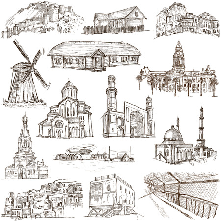 polar station: Famous places and Architecture around the World - Collection (no.13) of an full sized hand drawn illustrations. Hand drawn illustrations drawing on white background. Stock Photo