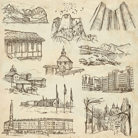 polar station: Famous places and Architecture around the World - Collection (no.15) of an full sized hand drawn illustrations. Hand drawn illustrations drawing on old paper.